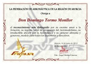 Reconocimiento a Domingo Tormo Monllor