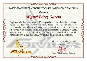Reconocimiento a Miguel Pérez García